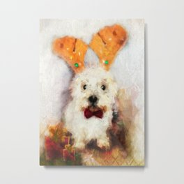 Merry Christmas Happy Holiday Westie Metal Print