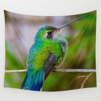 hummingbird Wall Tapestries featuring Hummingbird by Michael P. Moriarty