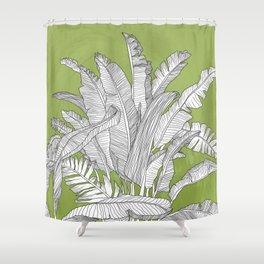 Banana Leaves Illustration - Green Shower Curtain