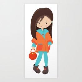 Fashion Girl, Brown Hair, Orange Jacket, Leggings Art Print