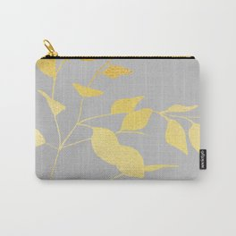 Gold & Grey Leaves Carry-All Pouch