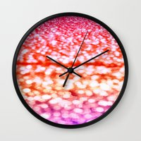 glitter Wall Clocks featuring Sunset Glitter Sparkles by WhimsyRomance&Fun