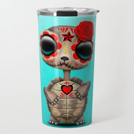 Red Day of the Dead Sugar Skull Baby Turtle Travel Mug
