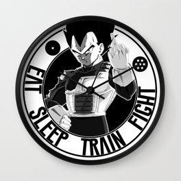 DBZ, EAT SLEEP TRAIN FIGHT , VEGETA Wall Clock