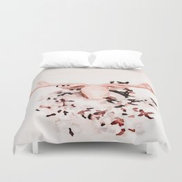 Watercolor: Deer with Cotton Wreath Duvet Cover