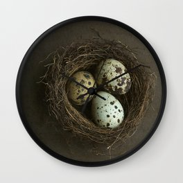 Quails Eggs and Nest Wall Clock