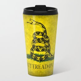 Gadsden Flag, Don't Tread On Me in Vintage Grunge Travel Mug
