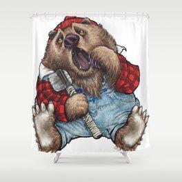 Sleepy LumberJack Bear Shower Curtain