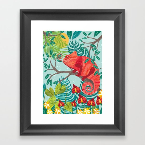 The Red Chameleon  Framed Art Print