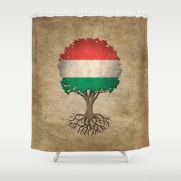 Vintage Tree of Life with Flag of Hungary Shower Curtain