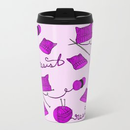 Resist with Pussy Hats and Knitting Needles Metal Travel Mug
