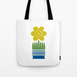Nordic Yellow Flower Tote Bag