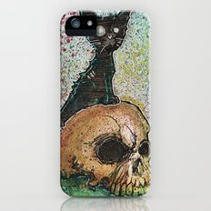 Black Cat with a Skull Slim Case iPhone SE