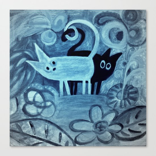 cats in blue Canvas Print