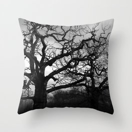 Eerie winter trees Throw Pillow