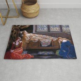 "John Maler Collier, "" The sleeping beauty "" Rug"
