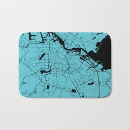 Amsterdam Turquoise on Black Street Map Bath Mat