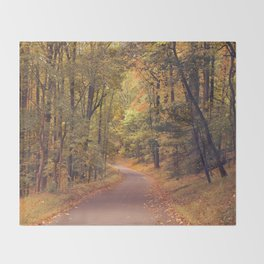 Empty New England Roads In Fall Throw Blanket