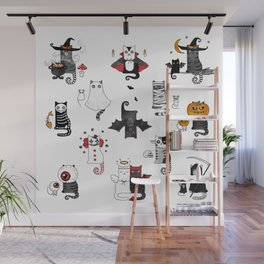 Horror Cats and mouses. Cute witch, vampire, angel and demon Wall Mural