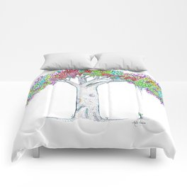 Rainbow Tree Huia Art Comforters