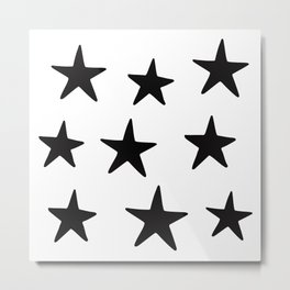 Star Pattern Black On White Metal Print