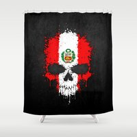 peru Shower Curtains featuring Flag of Peru on a Chaotic Splatter Skull by Jeff Bartels