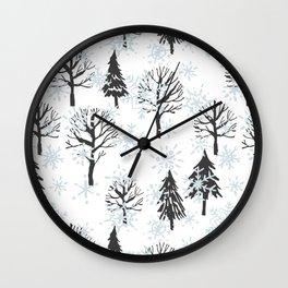 Xmas trees. Winter forest Wall Clock