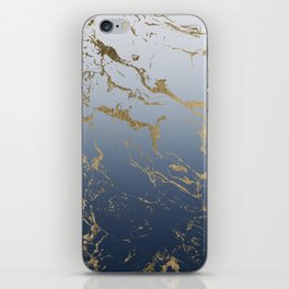 Modern grey navy blue ombre gold marble pattern iPhone Skin