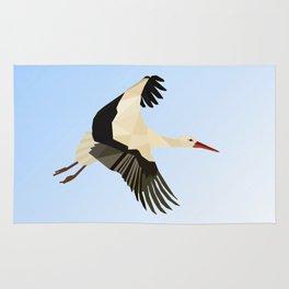 WHITE STROKE BIRD LOW POLY ART Rug