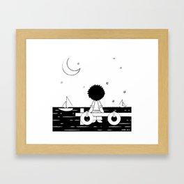 Midnight Harbour - Retraced Framed Art Print
