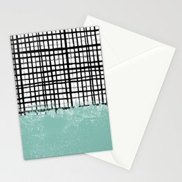 Mila - Grid and mint -  paint, art, artist cell phone case, grid phone case Stationery Cards