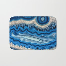 Blue agate slice wave Bath Mat