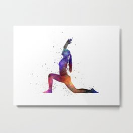 Yoga woman 04 in watercolor splatter Metal Print