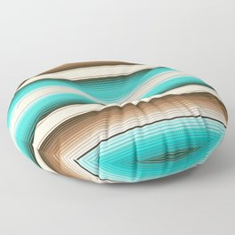 Teal, Brown and Navajo White Southwest Serape Blanket Stripes Floor Pillow