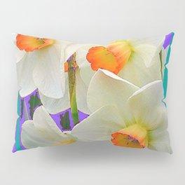WHITE-GOLD NARCISSUS FLOWERS LAVENDER GARDEN Pillow Sham