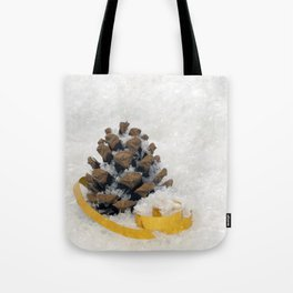 Fir Cones in Snow With Gold Ribbon Tote Bag