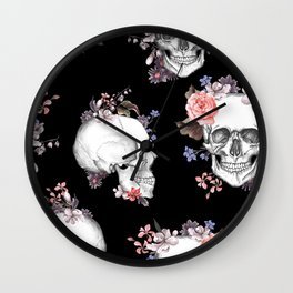 Day Of The Dead Floral Skulls Wall Clock