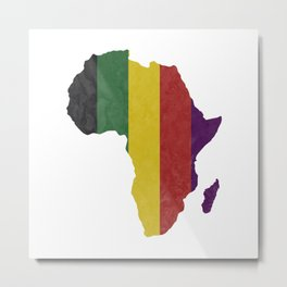 Striped Africa Map Metal Print