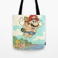 super mario Tote Bags featuring Super Mario! by Ismael Álvarez
