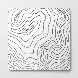 Minimal Black & White line art Modern Design Metal Print