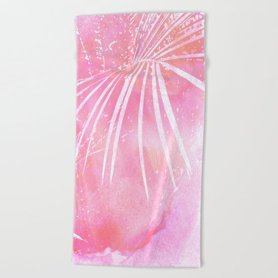 Abstract Pink Palm Tree Leaves Design Beach Towel