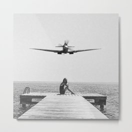 Steady As She Goes; aircraft coming in for an island landing black and white photography- photographs Metal Print
