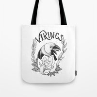 vikings Tote Bags featuring Vikings by Christiano Mere