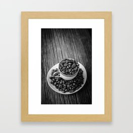 Cup of Coffee Beans Framed Art Print