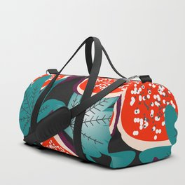 Colorful figs and leaves Duffle Bag