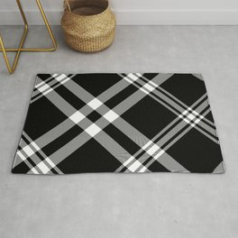 Bold Black and White Diagonal Plaid Farmhouse Style Rug