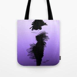 Fashion model in little black dress and violet Tote Bag
