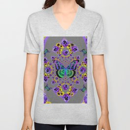 PURPLE  PANSIES &  GREEN BUTTERFLIES CHARCOAL GREY GEOMETRIC Unisex V-Neck