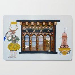 Phallus paintings on Bhutanese house Cutting Board