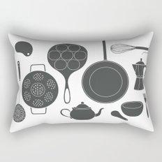 Kitchen Tools (black on white) Rectangular Pillow